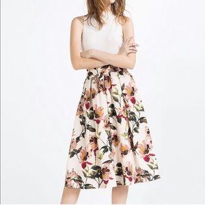 Zara Hibiscus Floral Midi Skirt